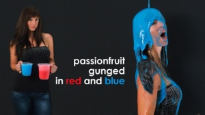 Gunged in red and blue